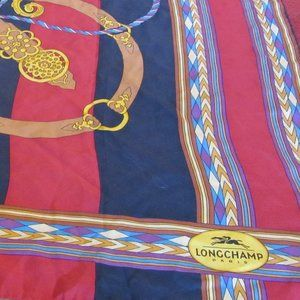 Longchamp Accessories - Longchamp Bridle Red & Black Stripe Silk Scarf